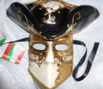 Genuine Venetian Black & Gold Tricorn Mask